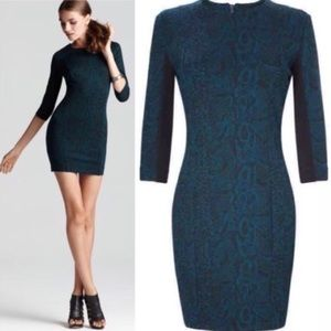 FRENCH CONNECTION Green Snakeskin Fitted Dress